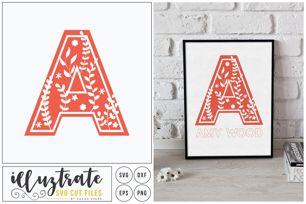 Letter A SVG Alphabet - DXF cut files - Vector Clipart example image 1