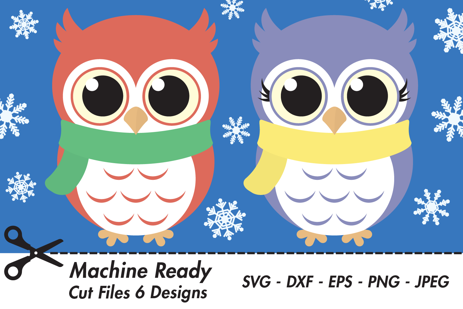 Cute Winter Owl Bundle SVG Cut Files, Woodland Baby Owls example image 1