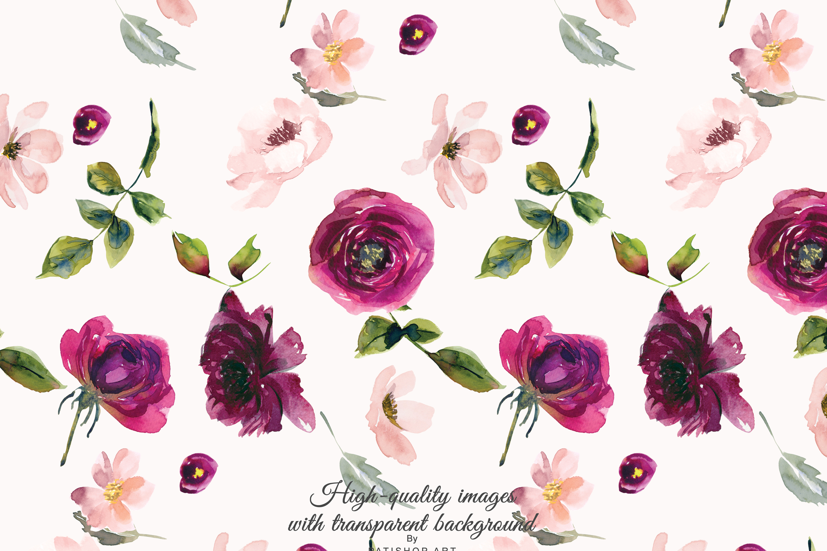 Burgundy Blush Floral Alphabet Seamless Pattern Tile
