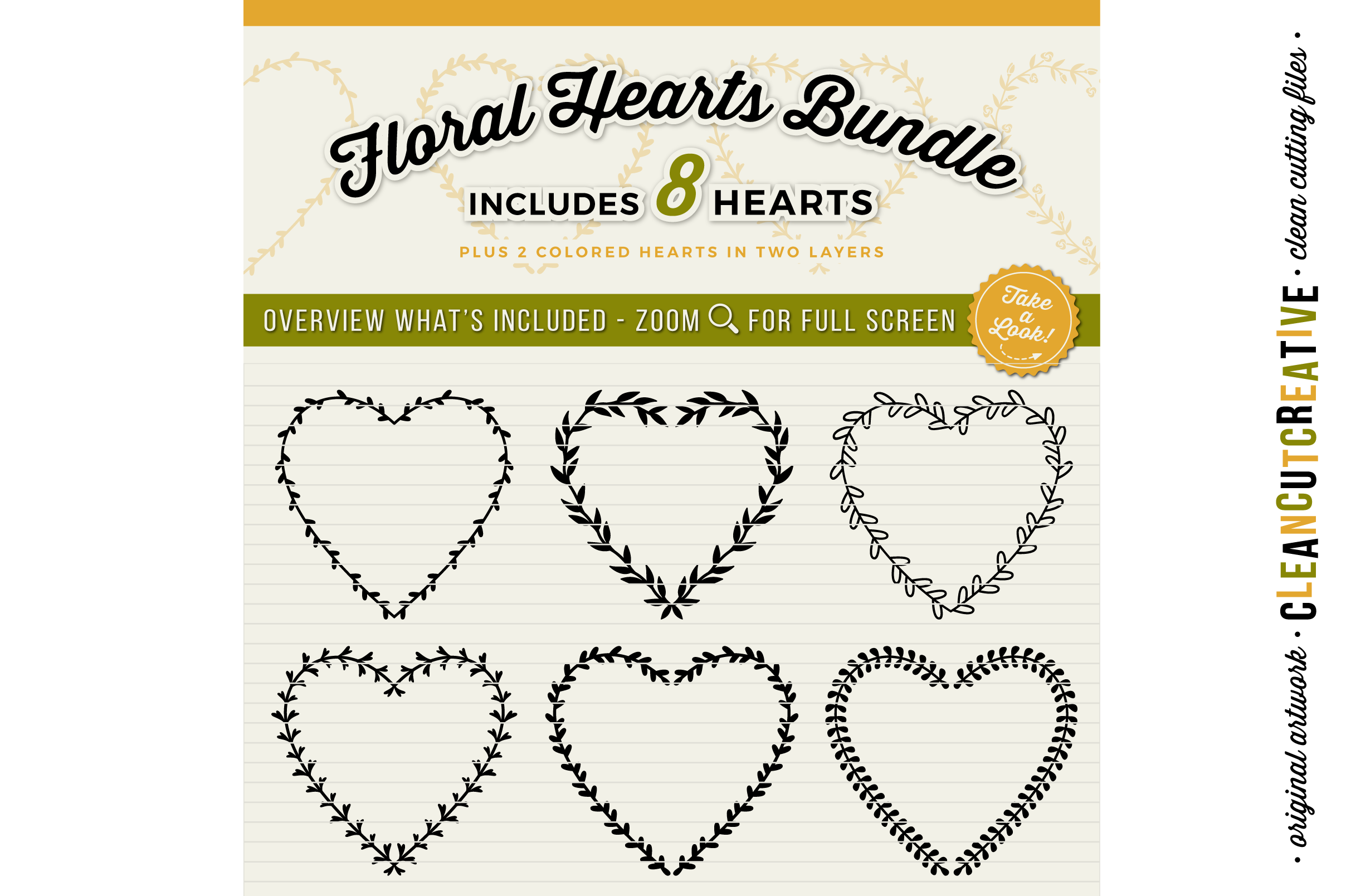 8 svg FLORAL HEARTS floral leaf heart wreath frames - SVG DXF EPS PNG - for Cricut and Silhouette Cameo - clean cutting digital files example image 2