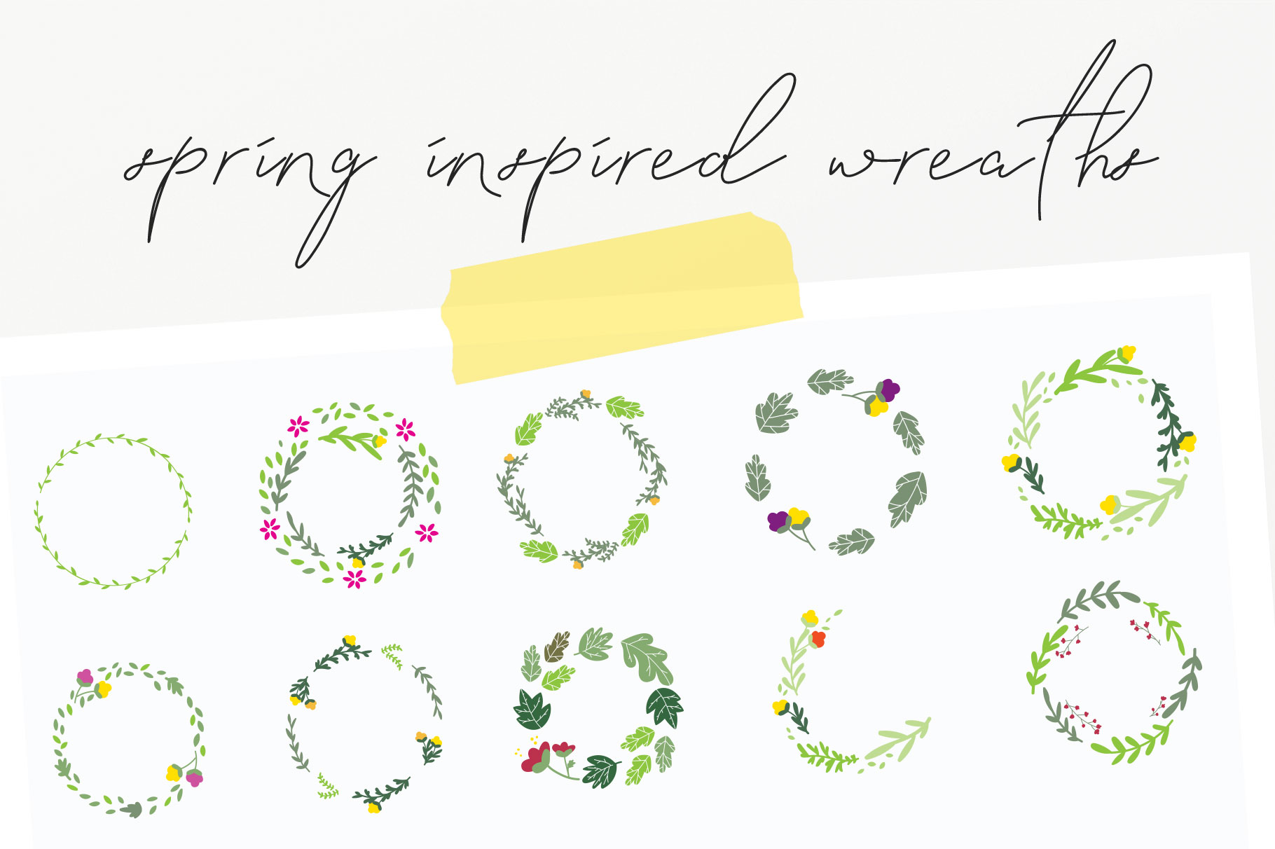 20 Spring Wreaths Vector Pack example image 4