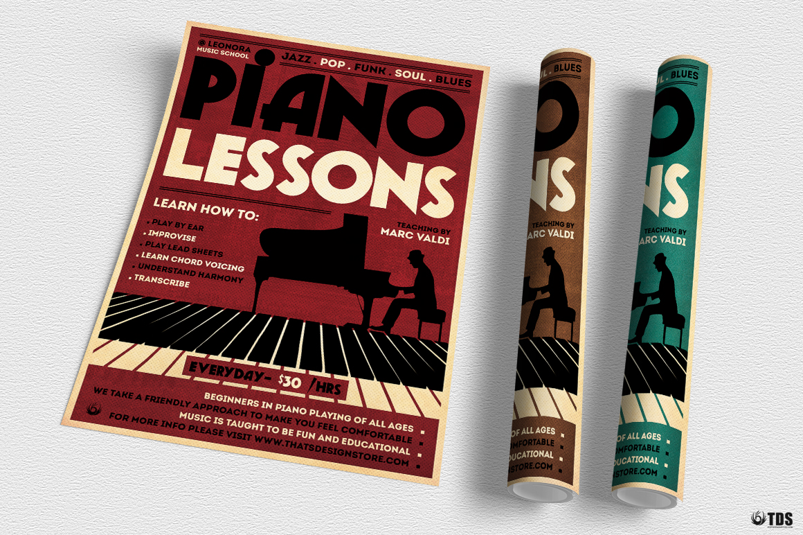 Piano Lessons Flyer Template example image 6