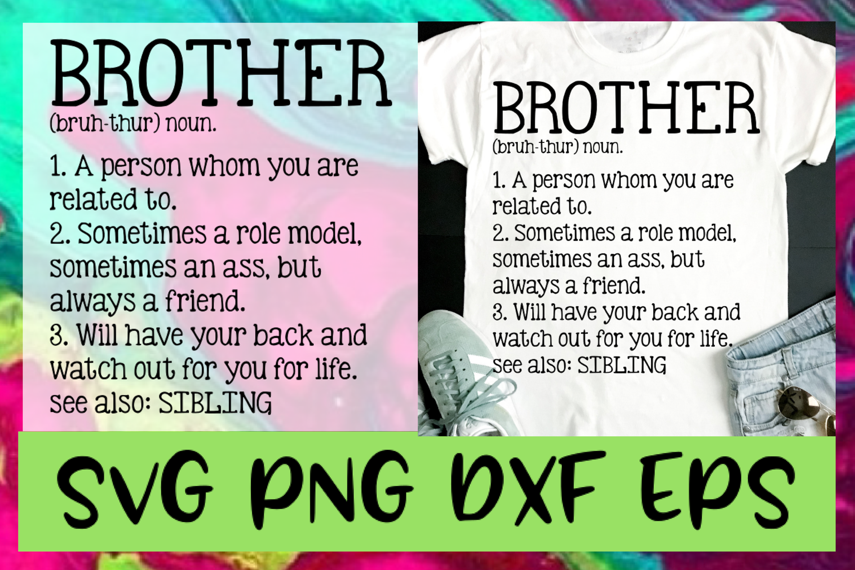 Brother Quote Definition SVG PNG DXF & EPS Design Files example image 1