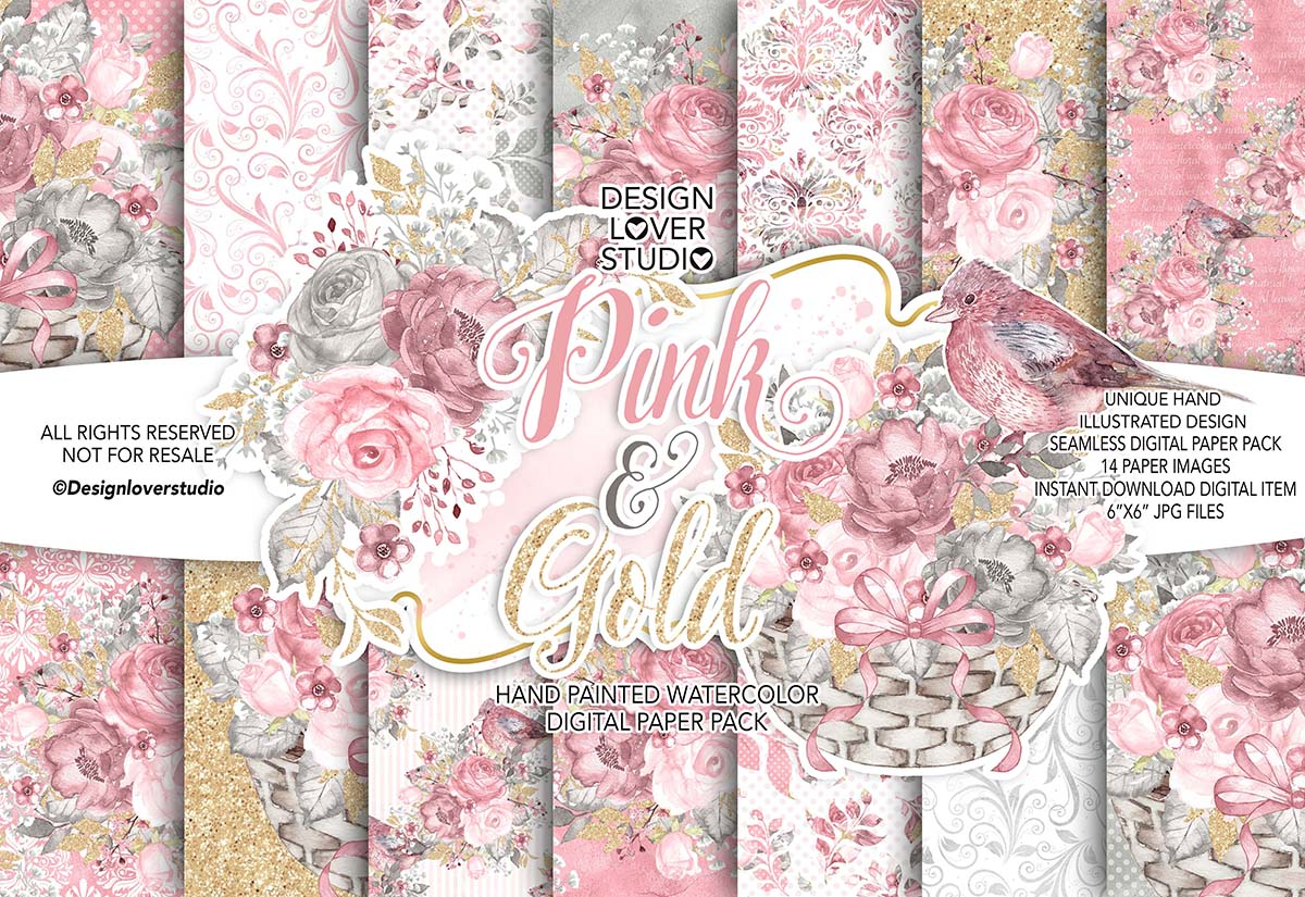 Watercolor Pink and Gold digital paper pack example image 1