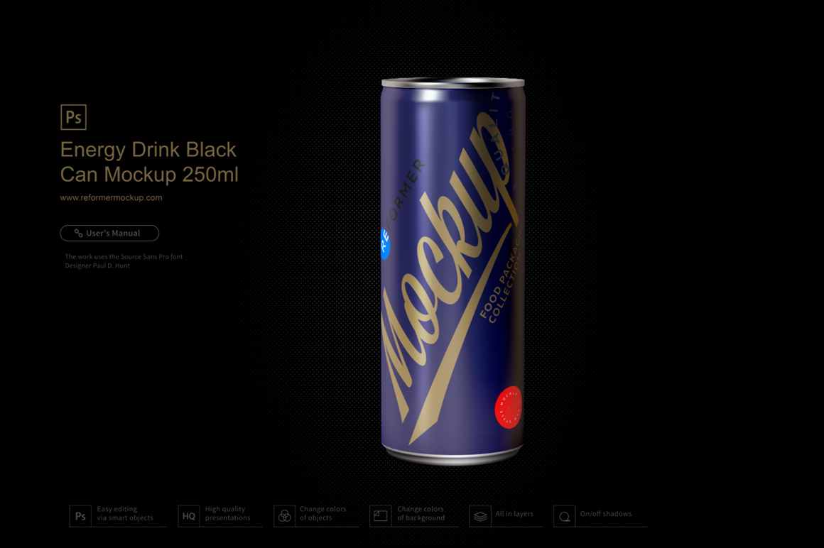 Energy Drink Black Can Mockup 250ml example image 2