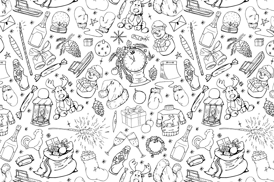 New Year seamless patterns example image 5