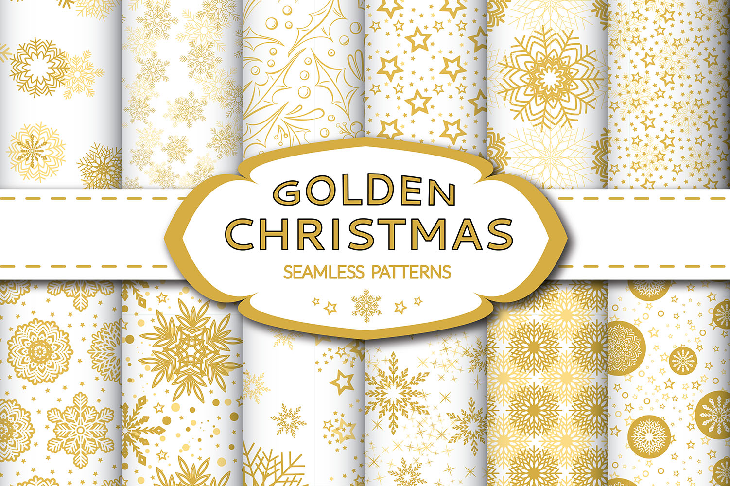 Golden Christmas Seamless Pattern example image 1