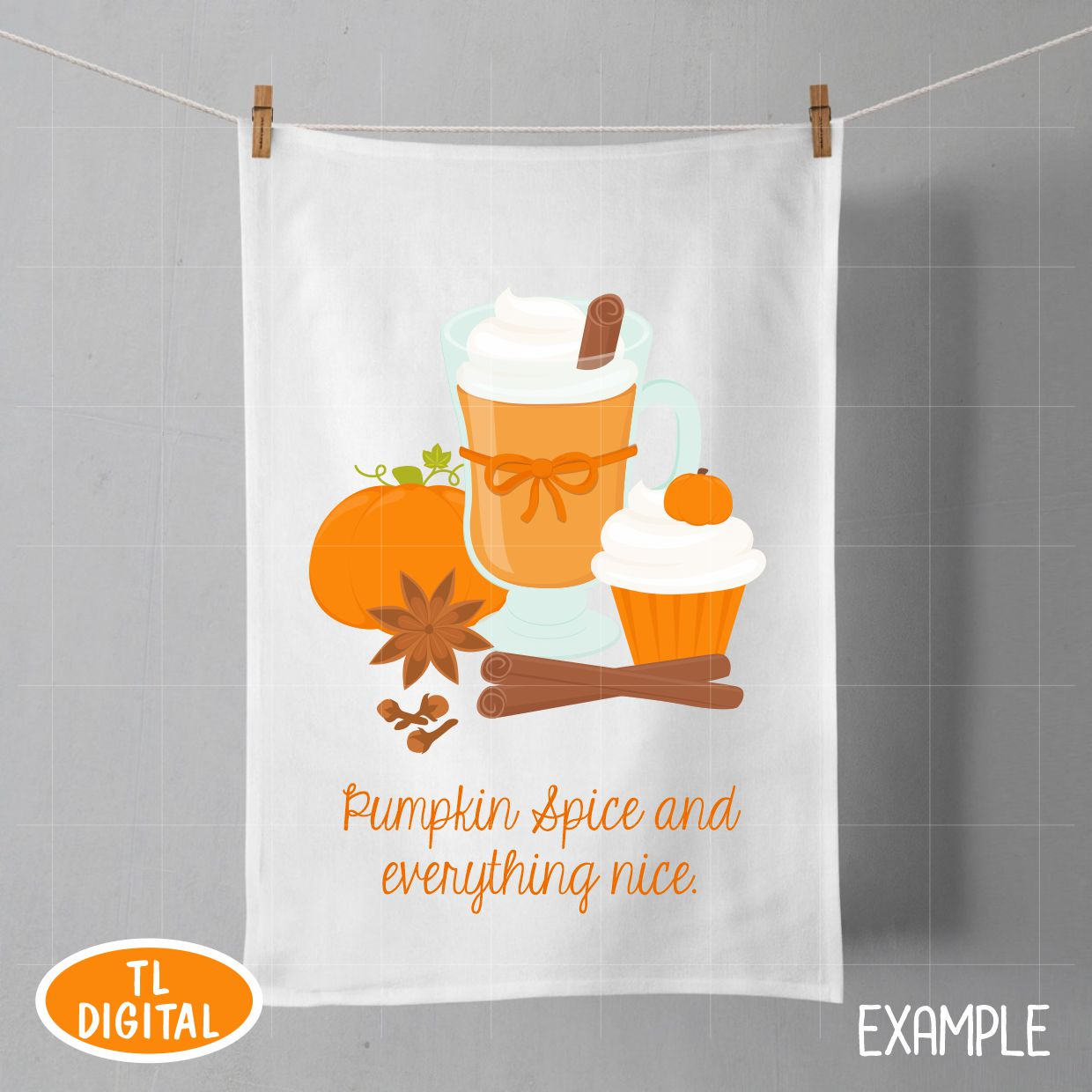 Pumpkin Spice Fall Treats Clipart - 32 PNG Graphics example image 6