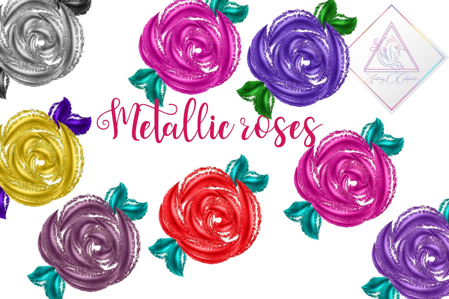 Metallic Roses Clipart example image 1