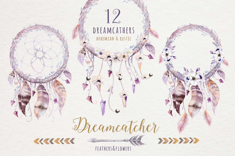 Watercolor dreamcathers II. Bohemian example image 2