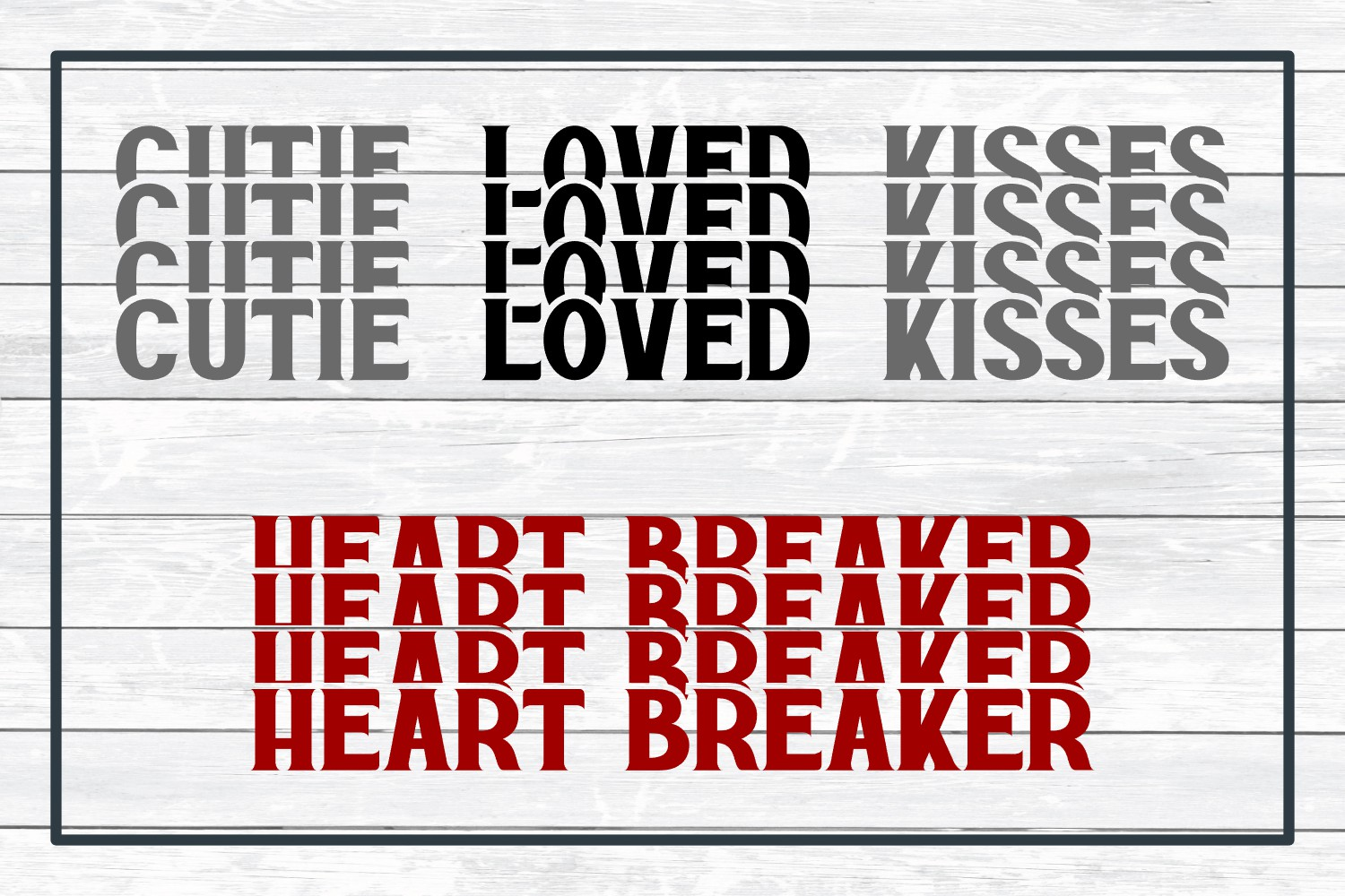 Valentine Stacked Word Bundle, SVG Cut Files for Crafters example image 5