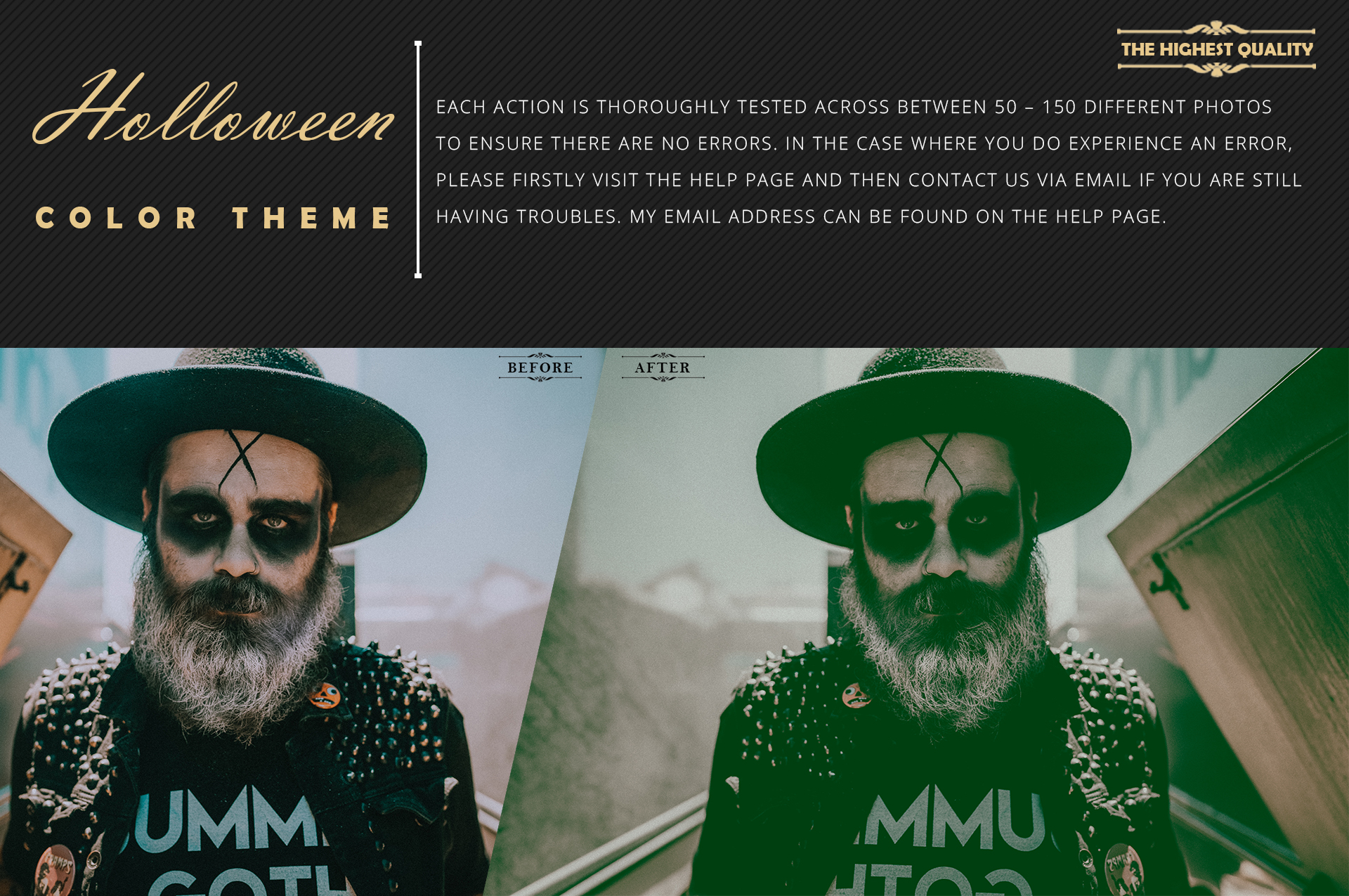 Halloween Theme color grading Photoshop Actions example image 6
