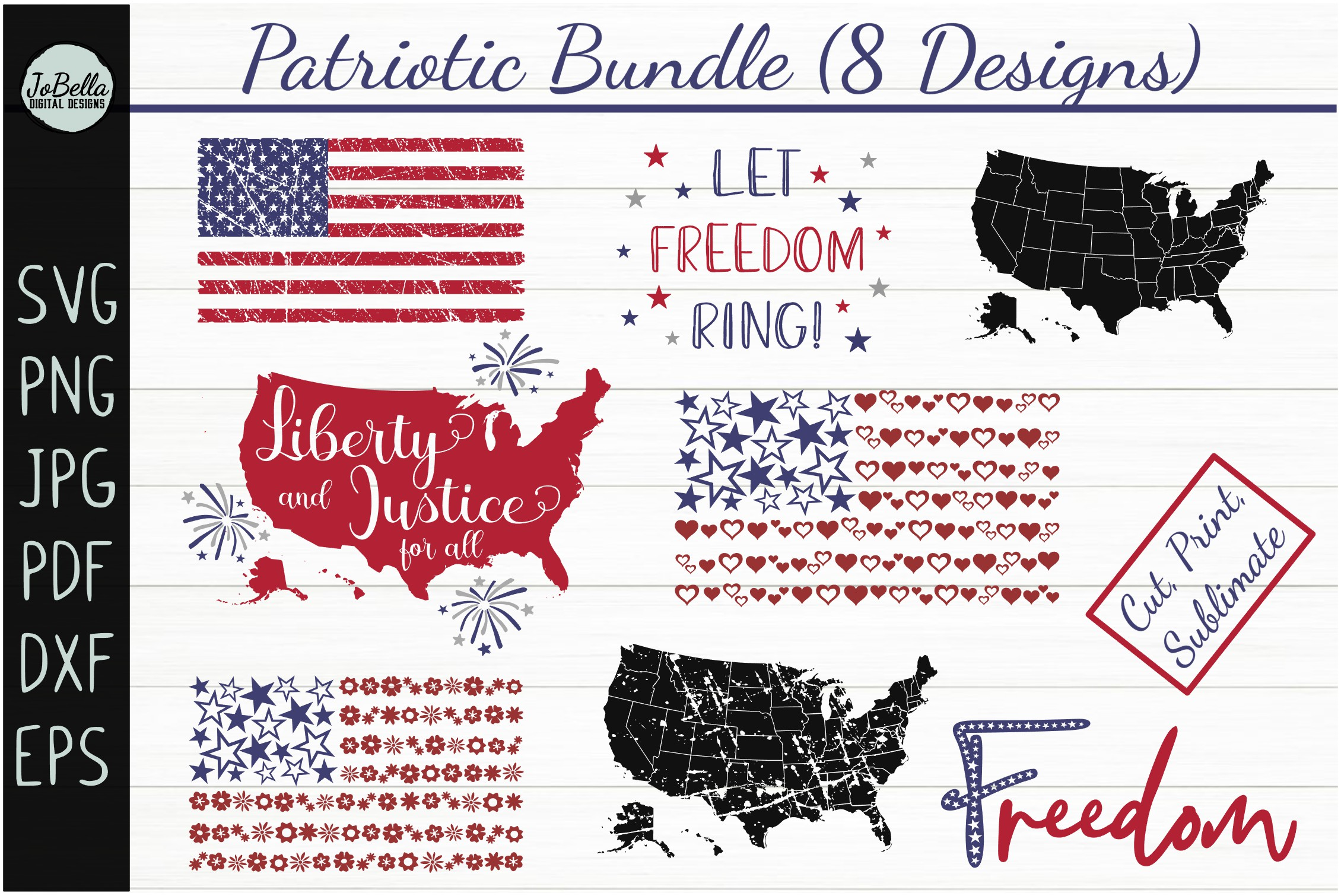 Patriotic SVG Bundle- July 4th Sublimation PNGs & Printables example image 1