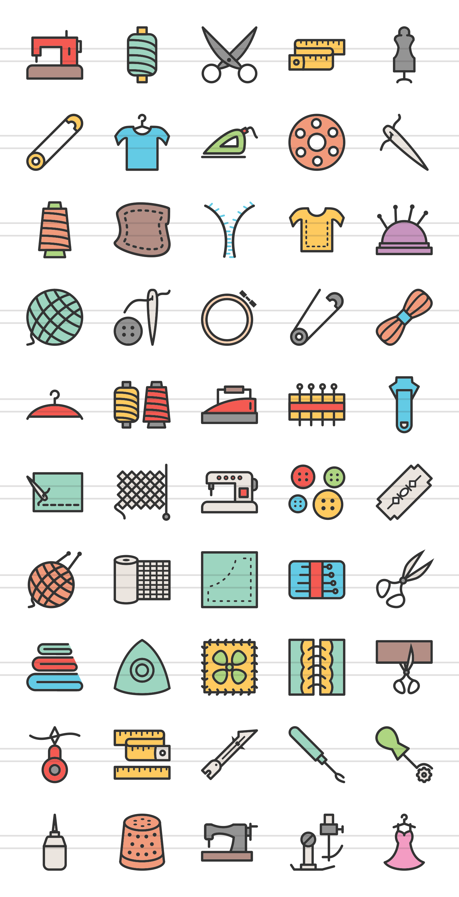 50 Sewing Linear Multicolor Icons example image 2