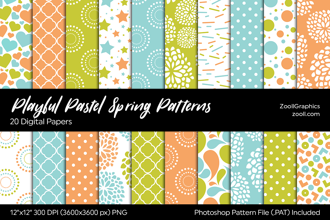 Playful Pastel Spring Digital Papers example image 1