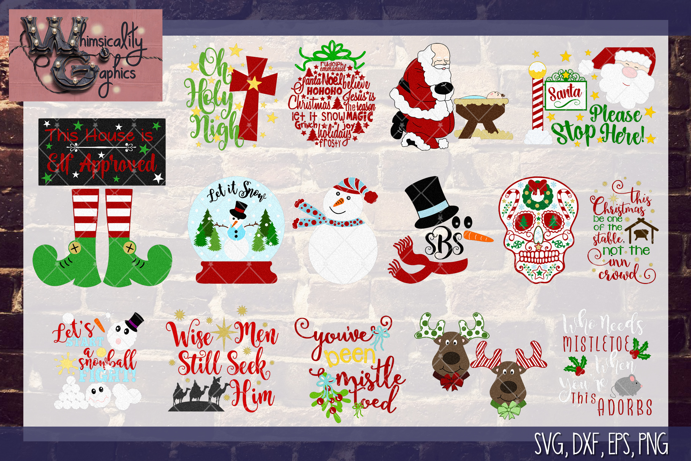 2018 Ultimate Christmas Bundle SVG, DXF, PNG, EPS Comm & Per example image 4
