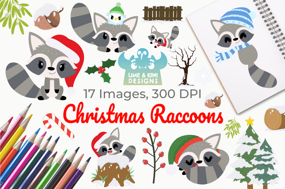 Christmas Raccoons Clipart, Instant Download Vector Art example image 1