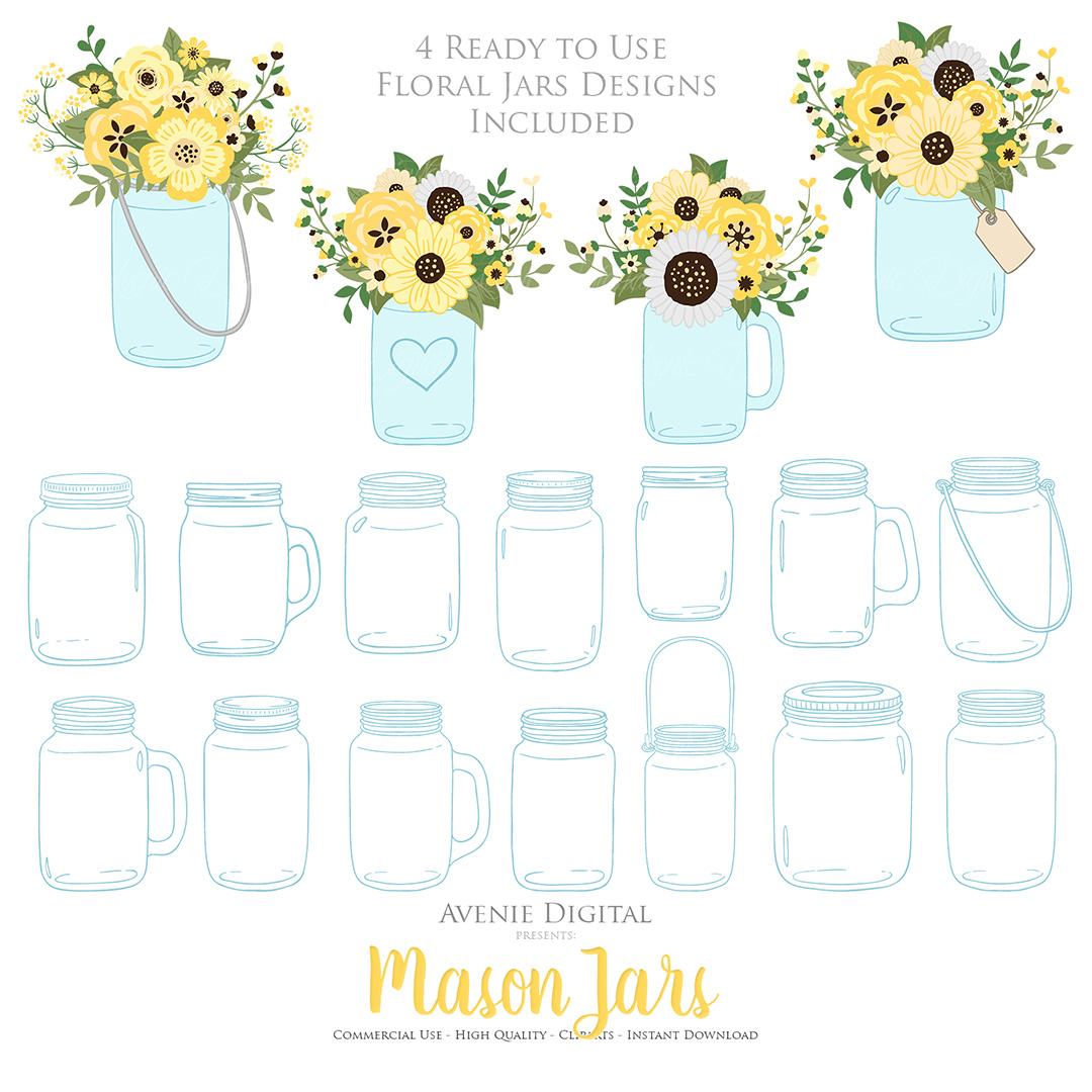 Yellow and Grey Mason Jar Floral Wedding Clipart example image 5
