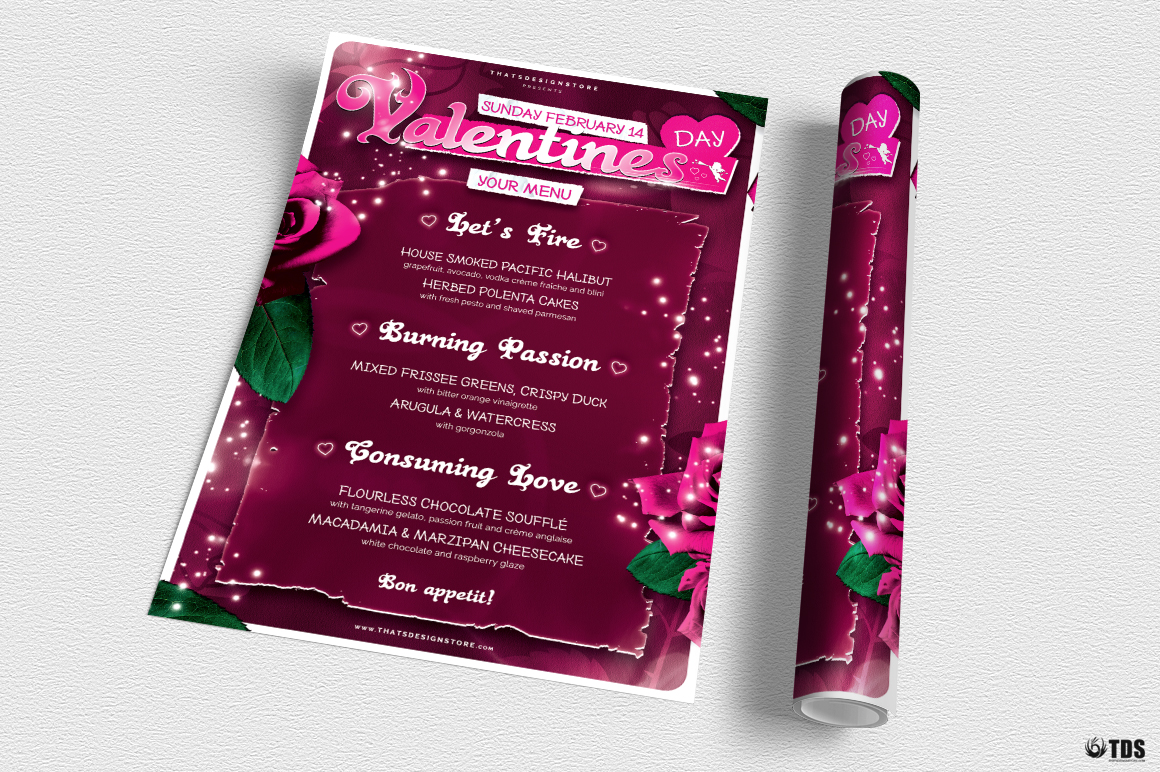 Valentines Day Menu Template V7 example image 3