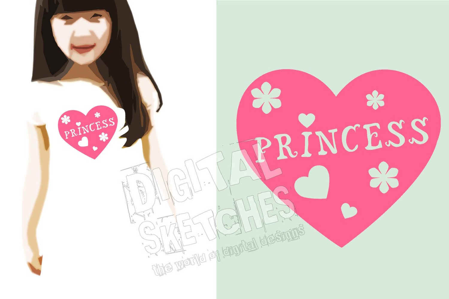 Princess Flower Heart Cut File Vector Graphics example image 2