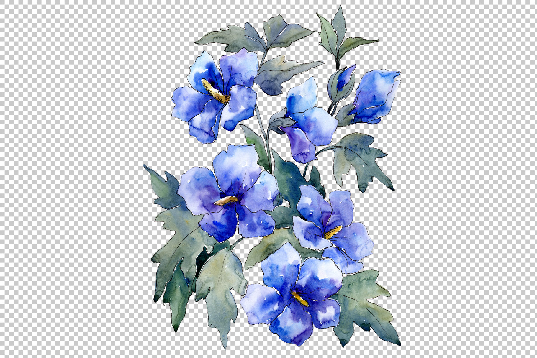 Bouquet of flowers blues Nona watercolor png example image 2