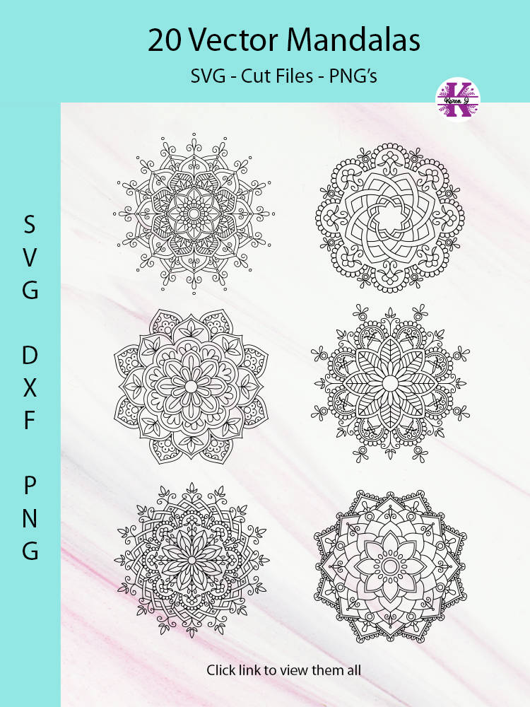 20 Mandala Vectors SVG DXF PNG - For Crafters example image 12