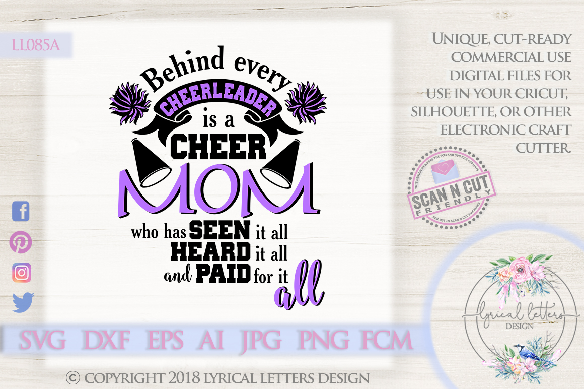Cheer Mom Cheerleader SVG DXF Cut File LL085A example image 1