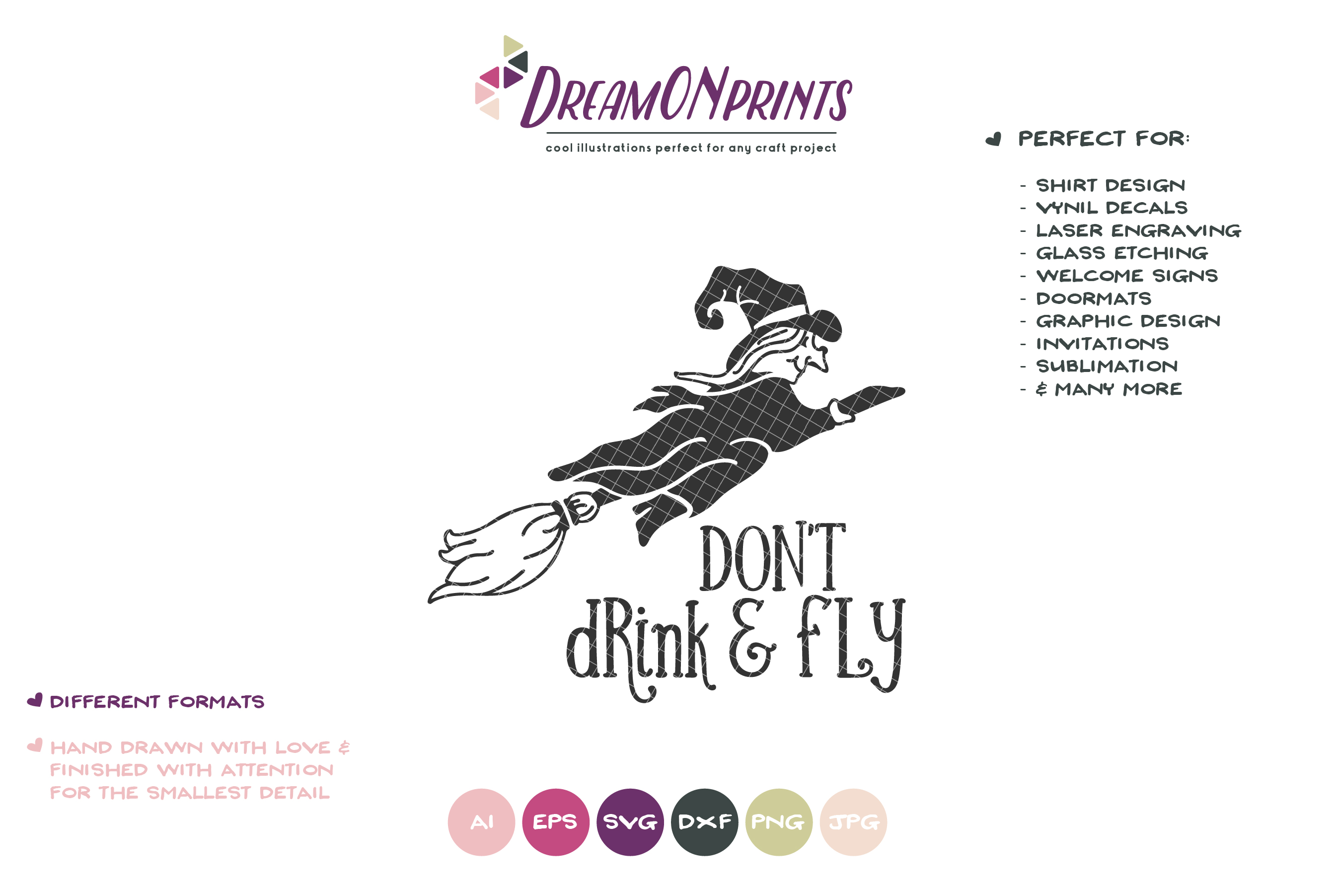 Don't Drink and Fly | Witch SVG | Halloween Witch SVG Cut Fi example image 2
