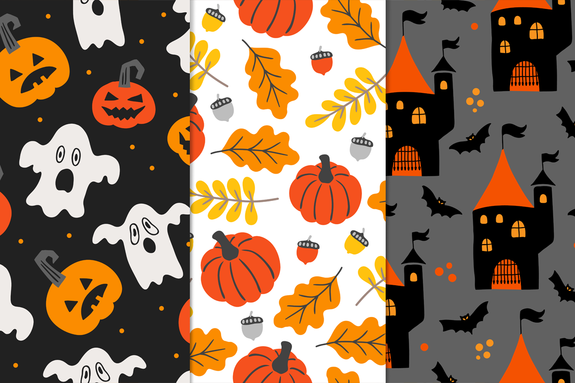 12 Halloween Seamless Patterns example image 3