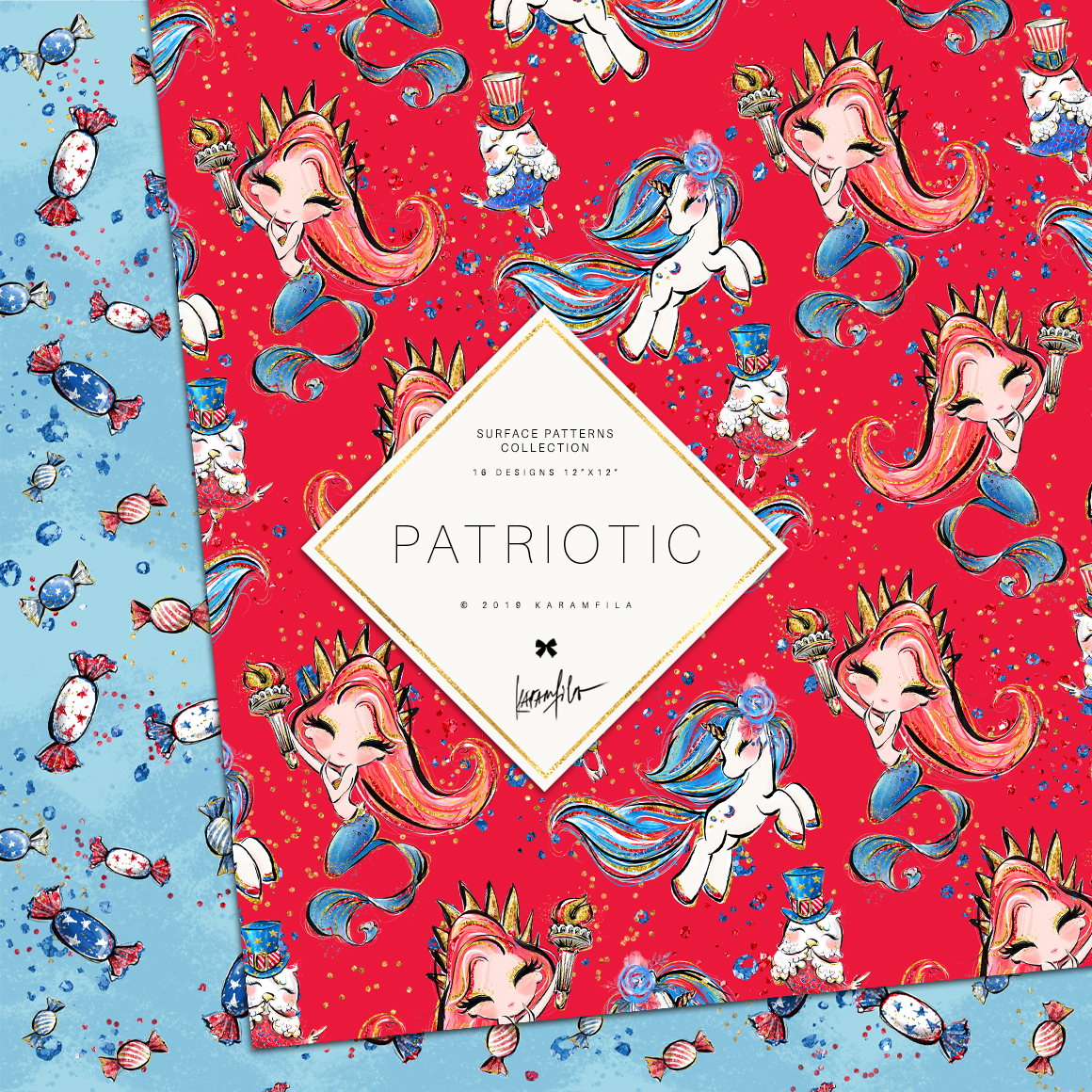 4th of July Mermaid Unicorn Patterns example image 5