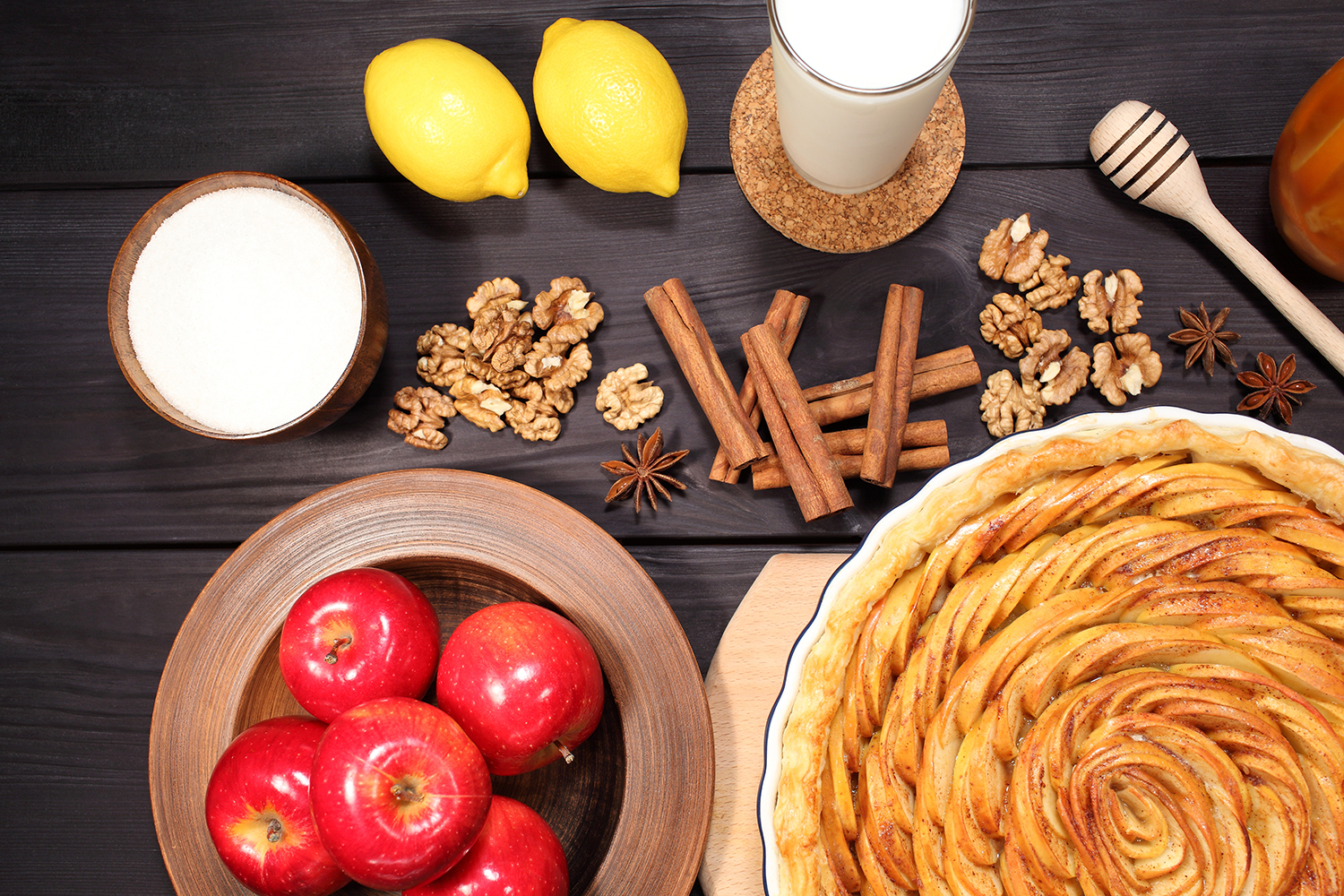 Set 12 photos Apple Pie and raw ingredients for baking. Sweet food series. Dessert. Top view example image 9
