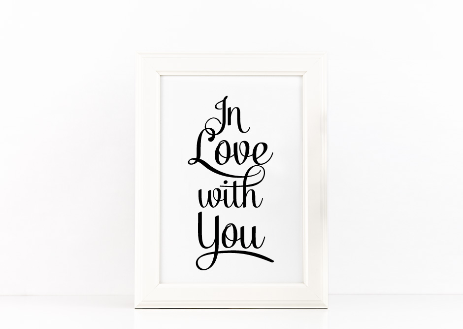 In Love with You Poster to Print Inspirational Quote Gold Foil + SVG files example image 3