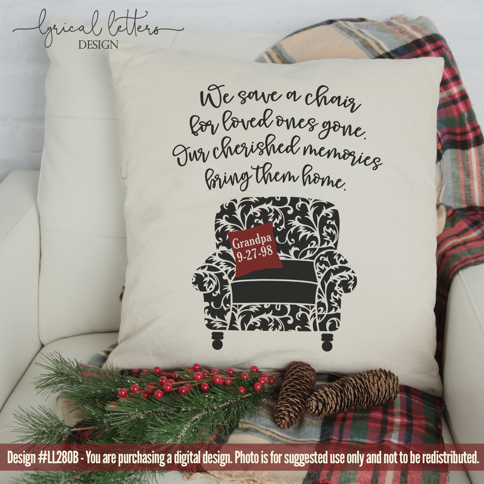NEW! Save A Chair Memorial SVG Cut File LL280B example image 2