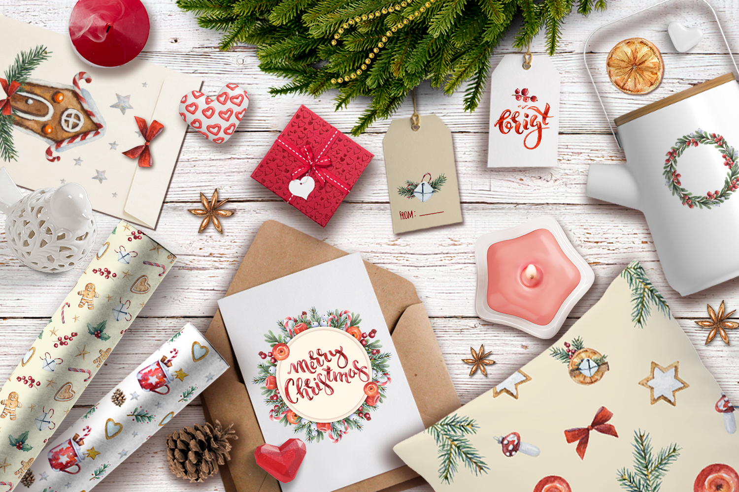 Magic Christmas set. Watercolor clipart collection example image 8