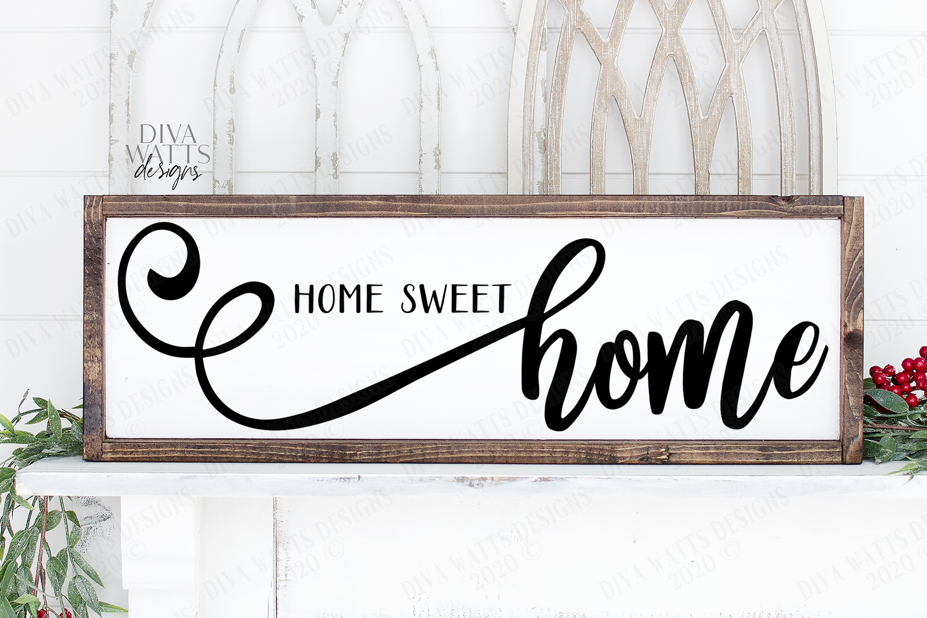 Home Sweet Home - Farmhouse Script With Tails - SVG example image 1