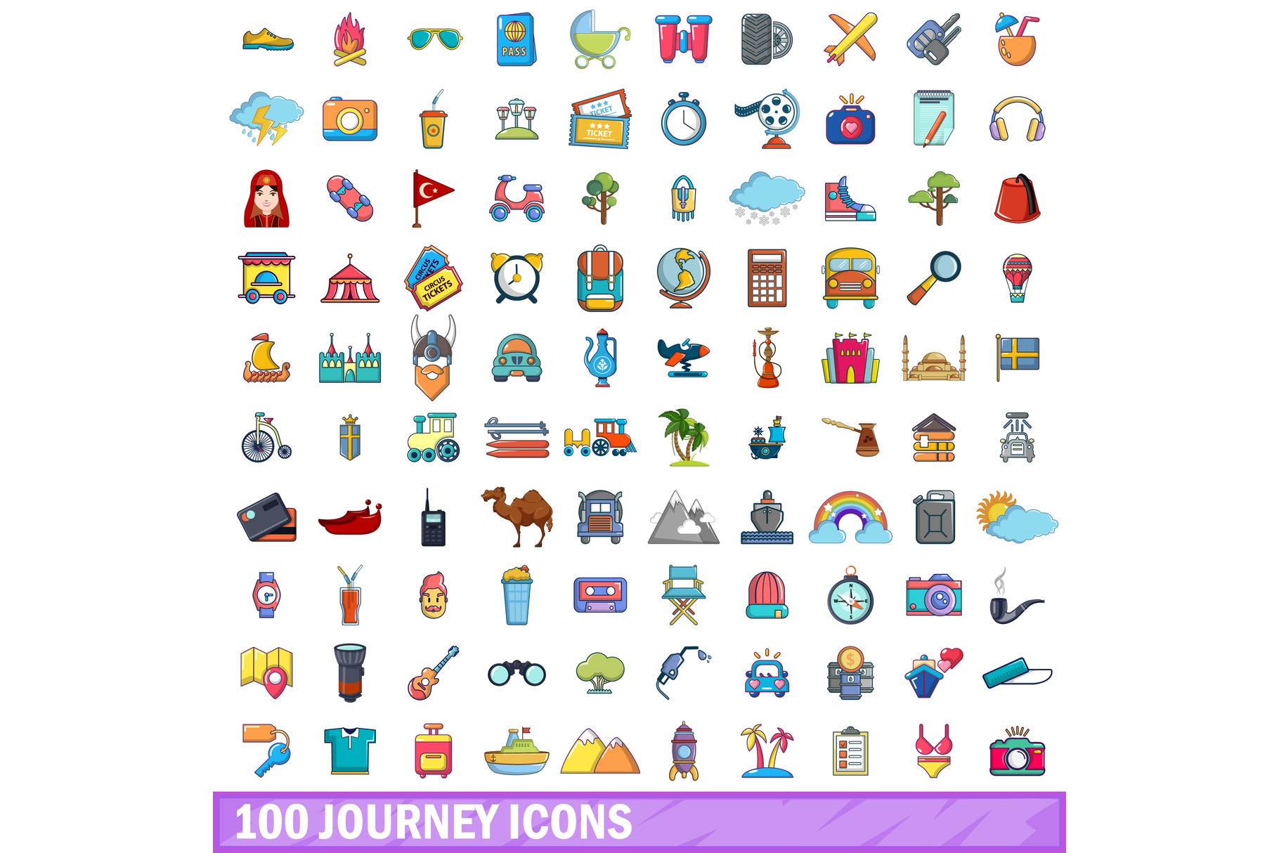 100 journey icons set, cartoon style example image 1