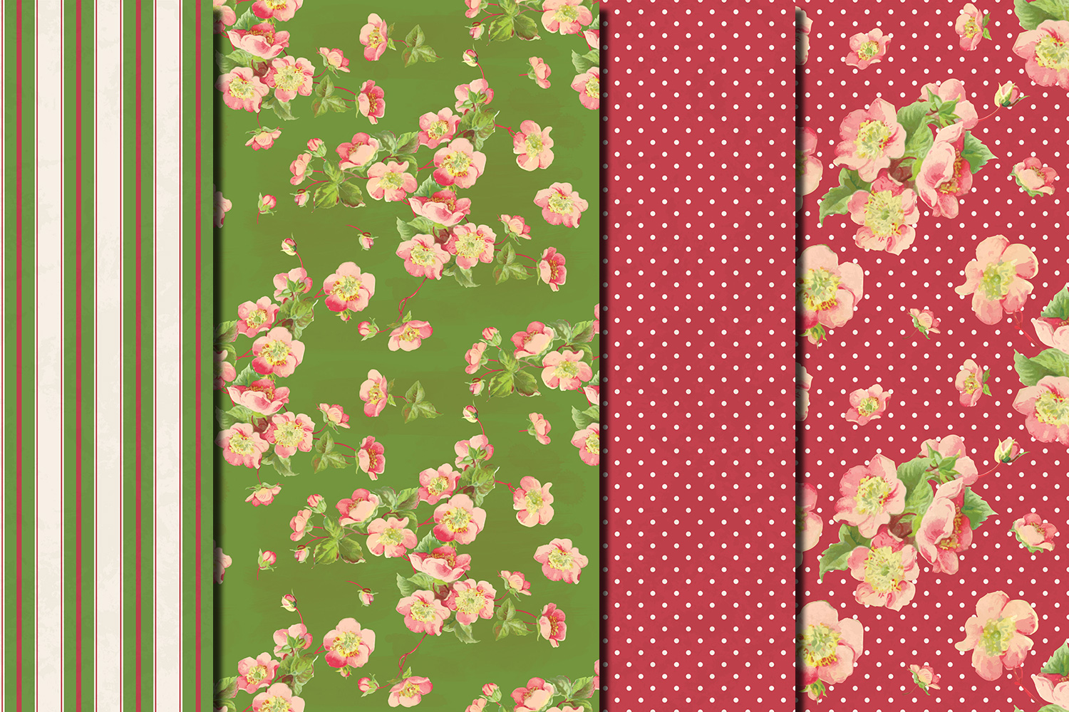 Shabby chic pink roses seamless patterns example image 5
