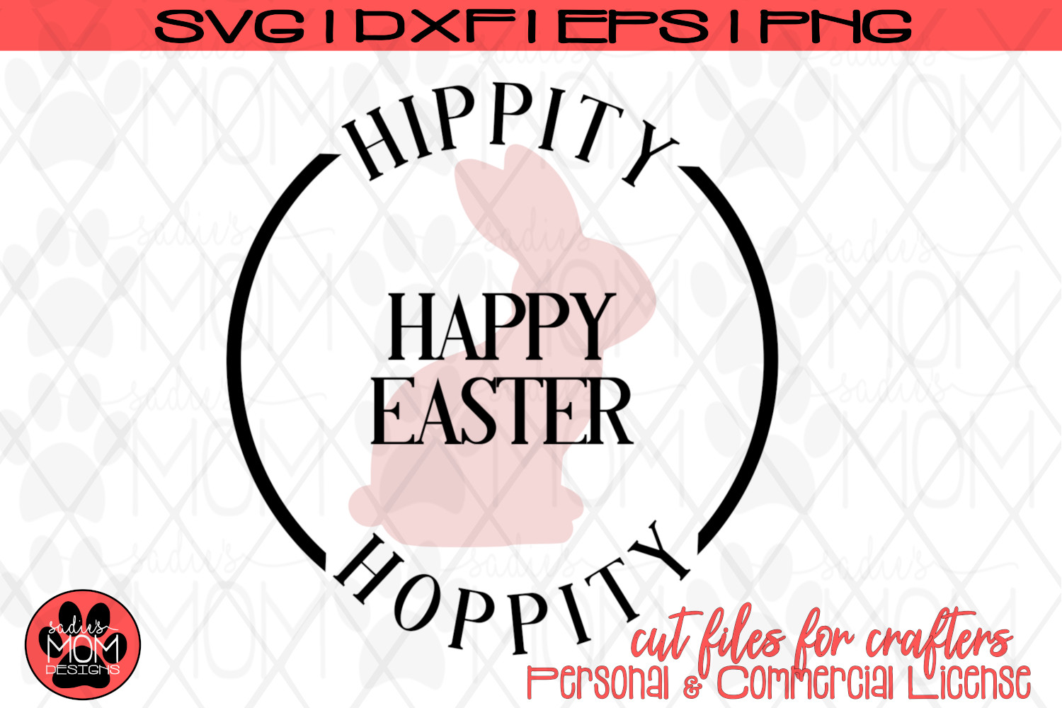 Hippity Hoppity Happy Easter | Bunny SVG Cut File example image 2