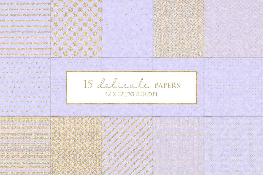 15 Gold Stripe and Dot Digital Paper Pack example image 1