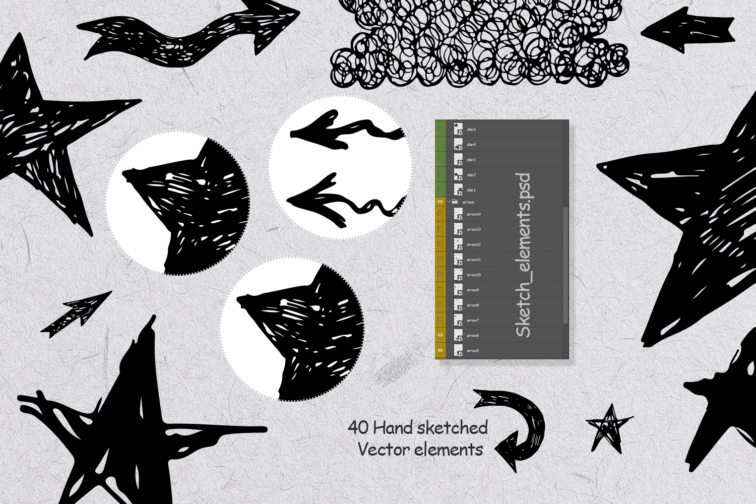 Handsketched Vector elements/arrows/stars example image 3