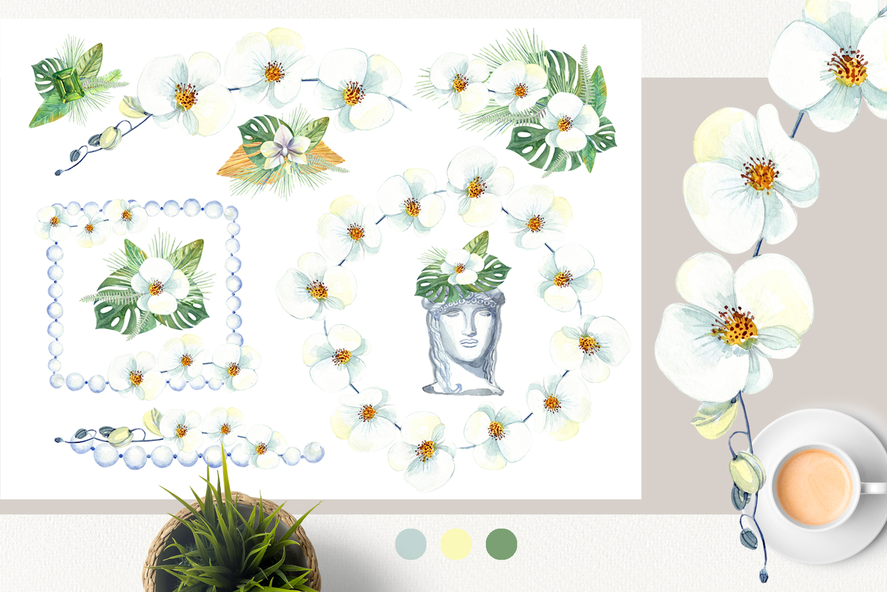 Watercolor Tropical Dream Clip Art example image 5