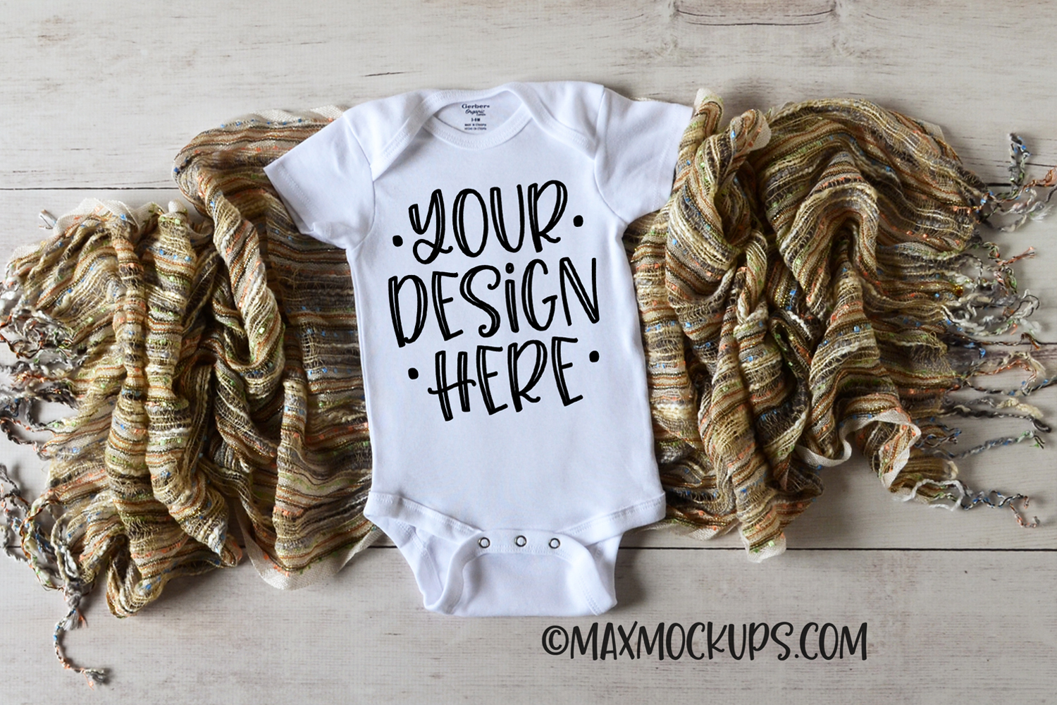 White baby bodysuit mockup with textured scarf example image 1