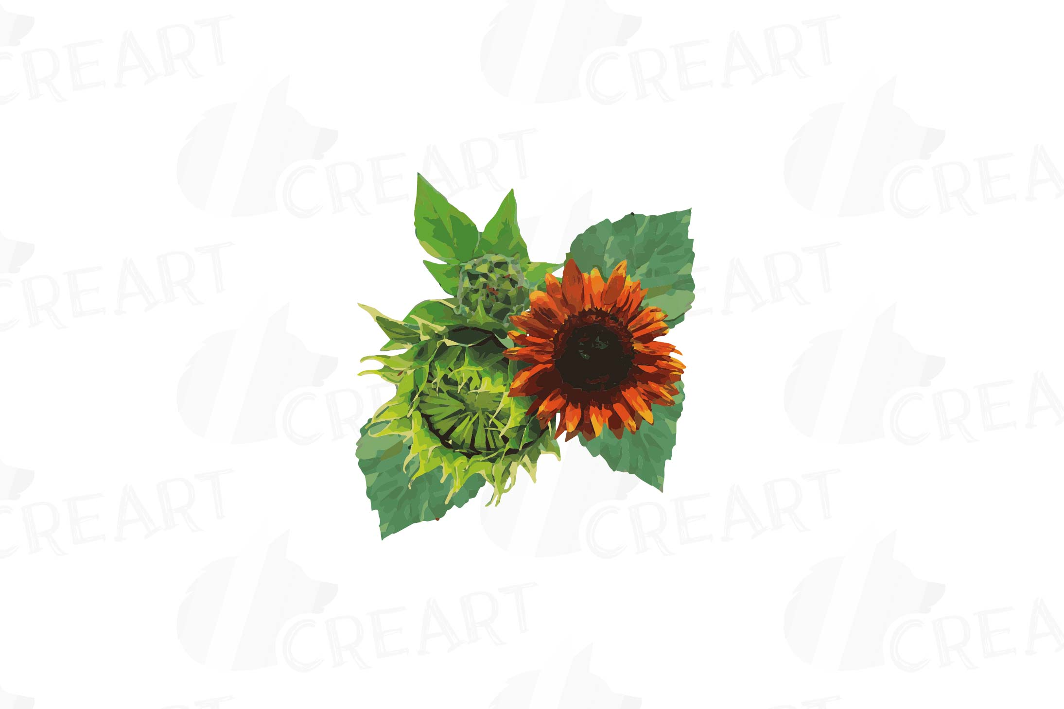 Watercolor sunflower bouquets and design elements example image 4
