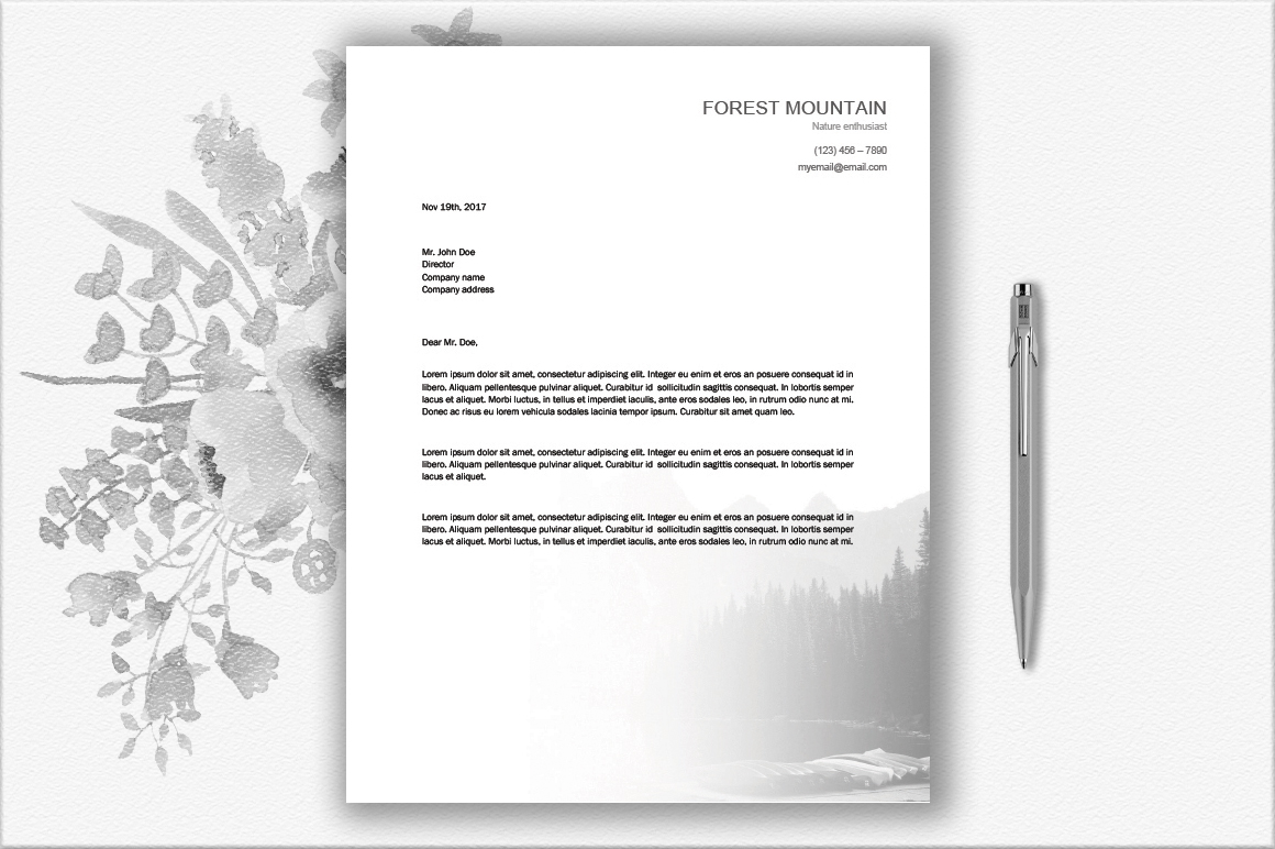Mountains Letterhead Design Template example image 2