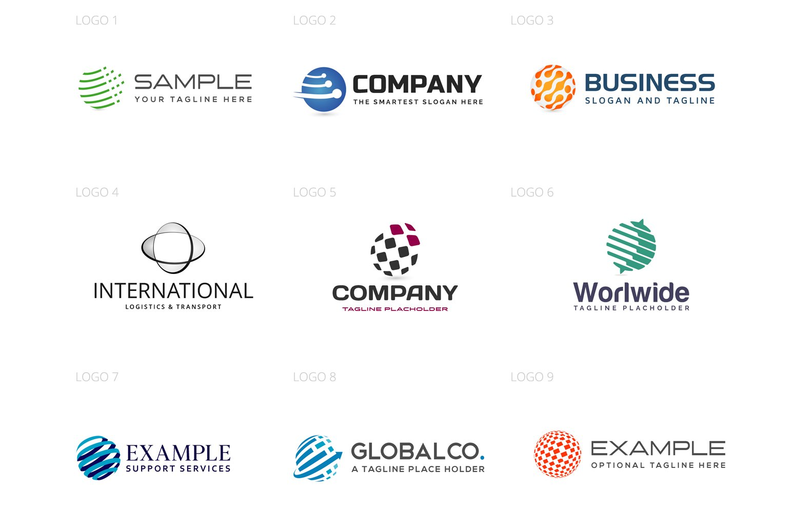 Globes & Spheres Logo Design Set example image 2