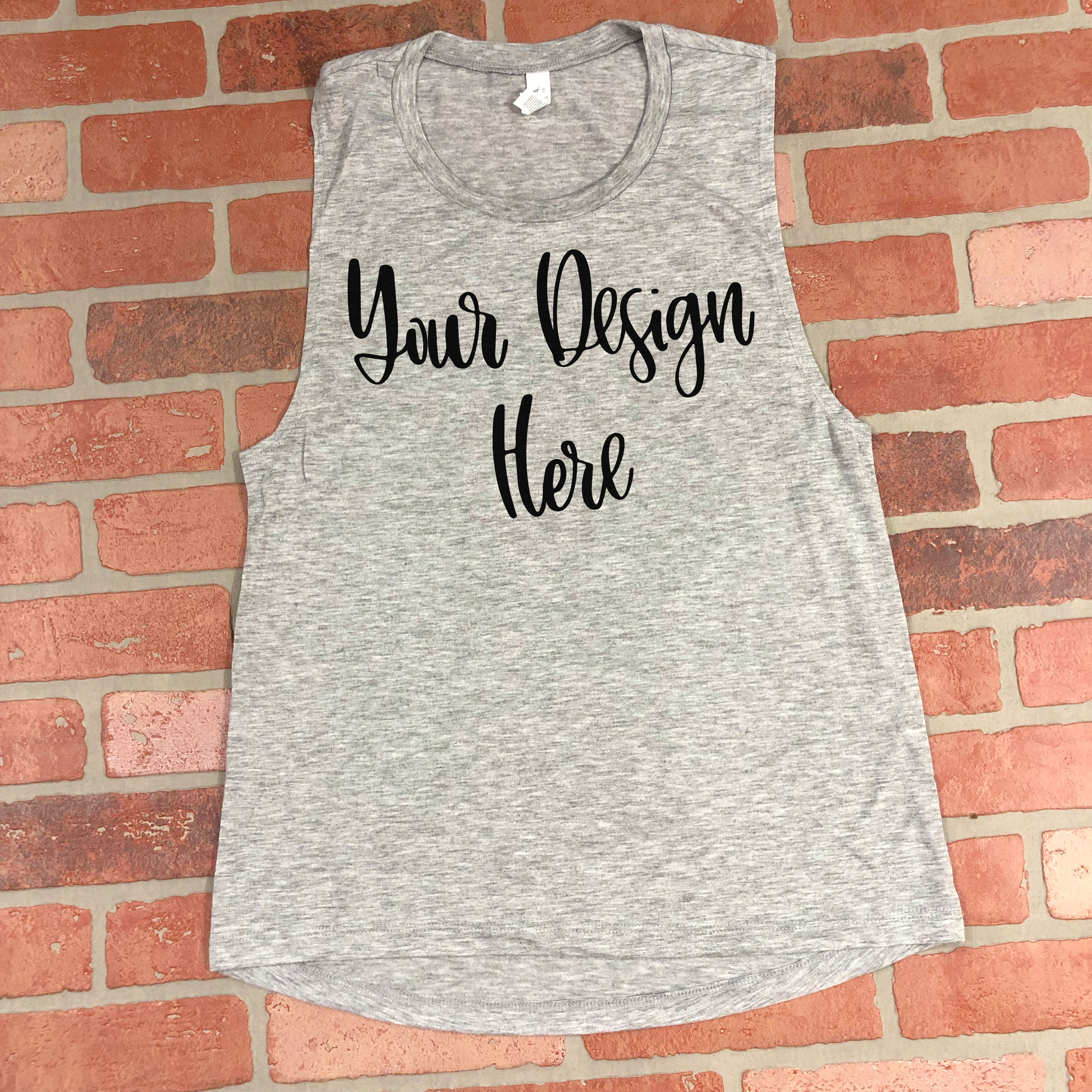 Bella 8803 Heather Grey Flowy Muscle Tank Top Mockup Photo example image 2
