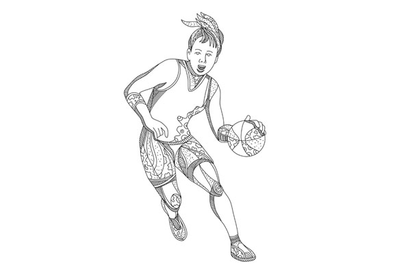 Female Basketball Player Doodle Art example image 1