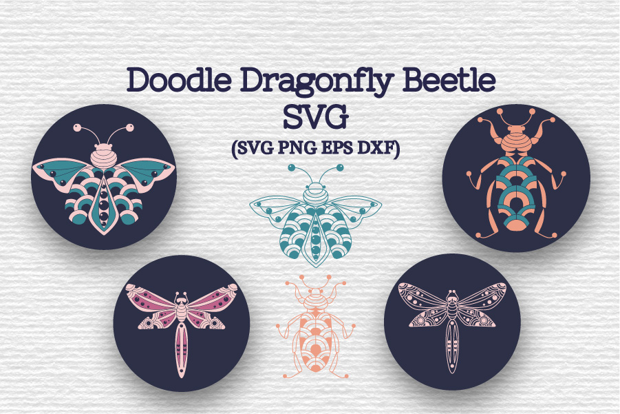 Doodle Dragonfly Beetle SVG example image 1
