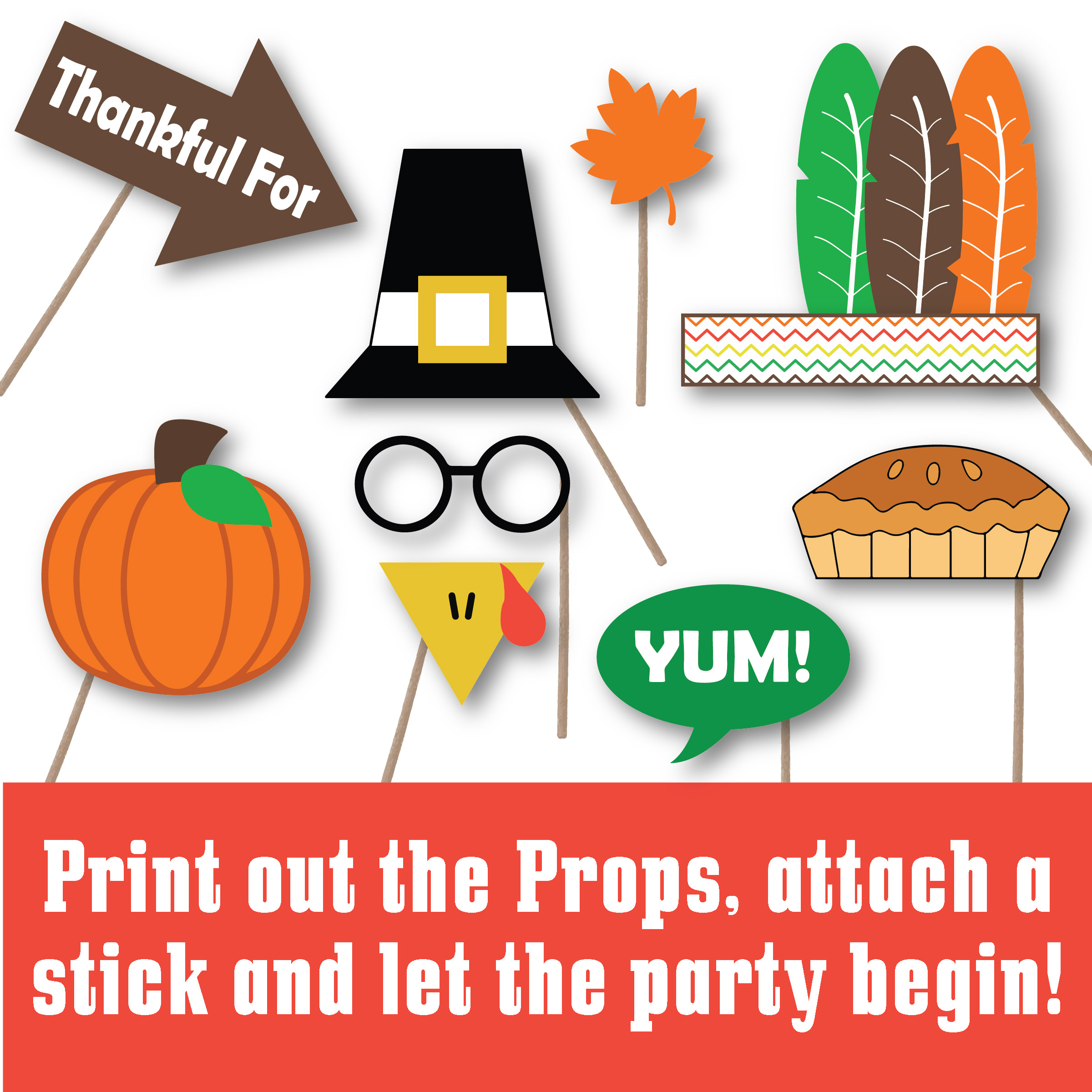 Thanksgiving Photo Booth Props SVG Cut File DXF EPS PNG SVG example image 2
