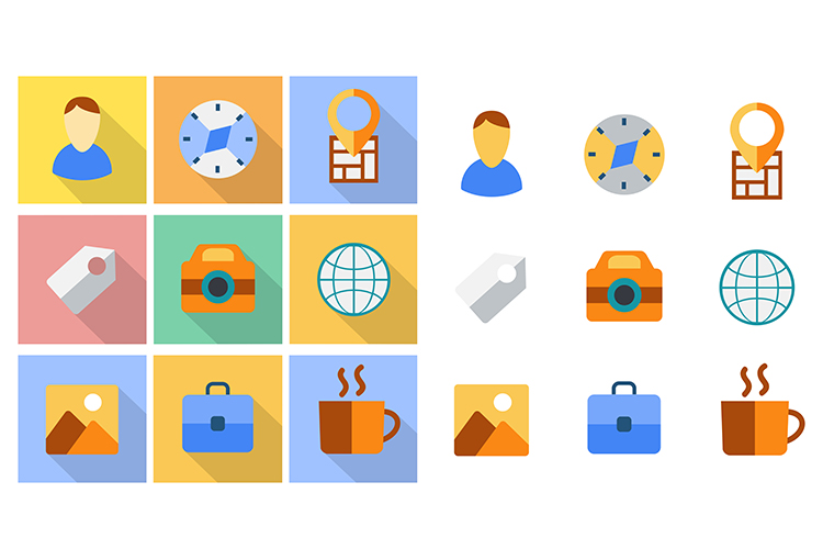 Flat icons set example image 1